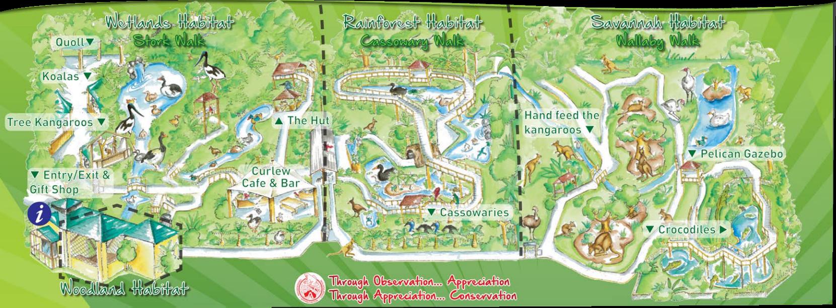 ワイルドライフハビタットの園内マップ